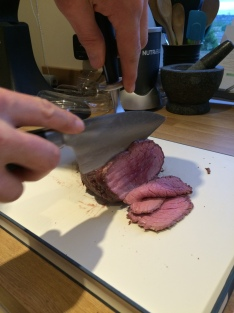 rare smoked beef carved with ioshen knife