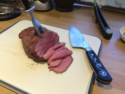 rare bbq smoked beef with ioshen knife